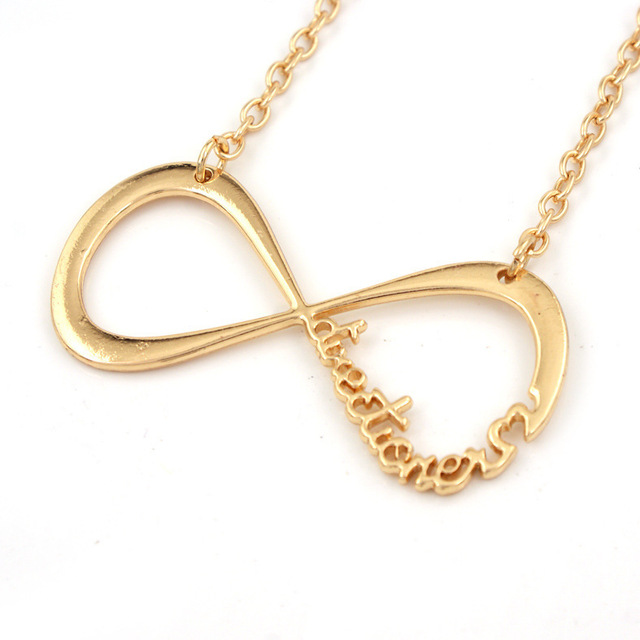 Hot Sale Fashion Simple Chain Necklace Infinity Symbol Pendant With