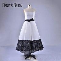 2018 Черный и белый Вечерние платья с бантом на поясе без бретелек элегантные вечерние платья