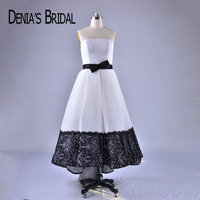2018 Black and White Evening Dresses with Bow Belt Strapless Elegant Evening Gowns