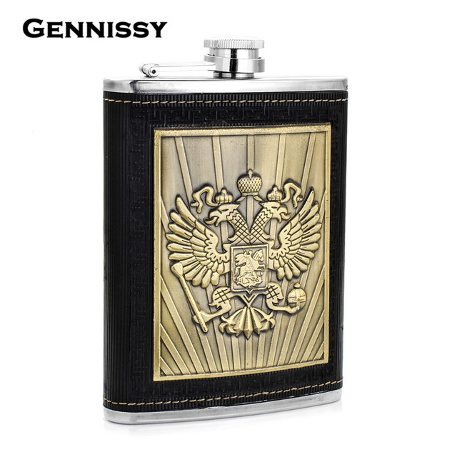 GENNISSY Russia's Emblem Printed Whiskey Flask Black Leather Packed 8 oz Stainless Steel Hip Flask Portable Drink Flasks Gift