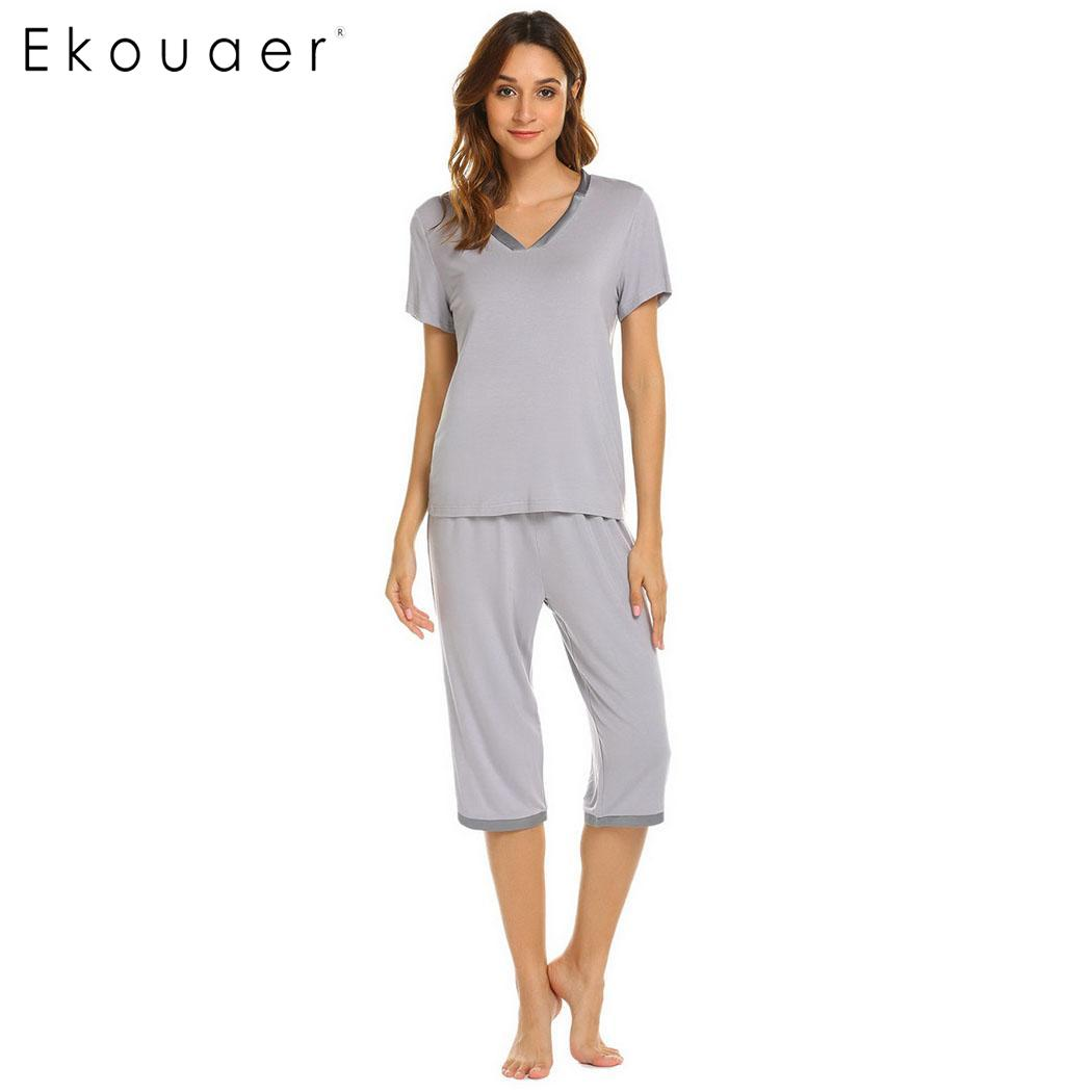 Ekouaer Women Casual Pajamas Set Nightwear Short Sleeve Tops And Capri Pants Pajama Sets Sleepwear Female Home Clothings S-XXL