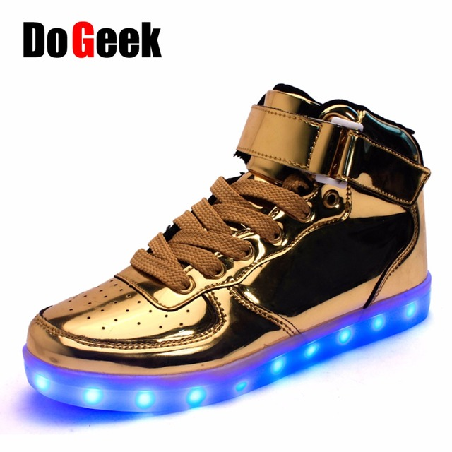 DoGeek LED Shoes  Gold Unisex Light Up Shoes Superstar Tenis Feminino Men Snearkers NMD Men Fashion Causal Shoes For Bar Party