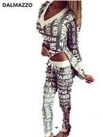 DALMAZZO 2018 Date Chaude Piste Survêtement Femmes V Cou Imprimer Lettre Vêtements 2 Pcs Ensembles Pull Sweat + Pantalon Costume noir Gris