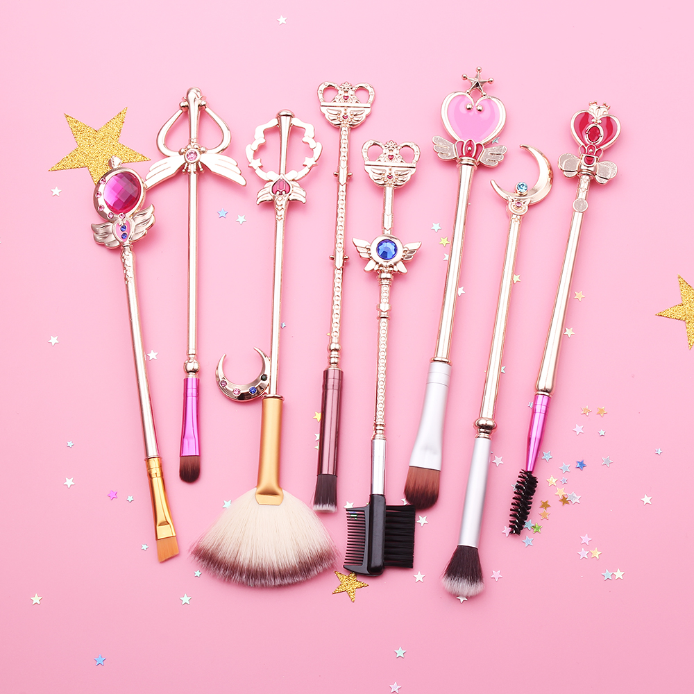 Free shipping 2 style sailor moon Cosmetic brush Makeup Brushes Set Tools kit Eye Liner Shader natural-synthetic hair