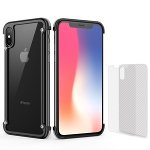 Image 2 - OATSBASF metal frame shape with airbag shockproof phone case for iphone XS Max XS XR Protective bumper back cover with film