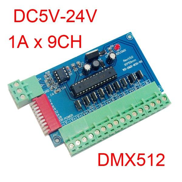 Snadný 9 kanálový DMX512 RGB řadič 3 skupiny RGB 9CH DMX512 dekodér DC5-24V vstup na každý kanál max. 3A