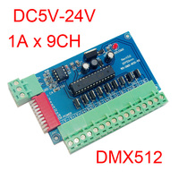 Easy 9 Channel DMX512 RGB Controller 3groups RGB 9CH DMX512 Decoder DC5 24V Input Each Channel