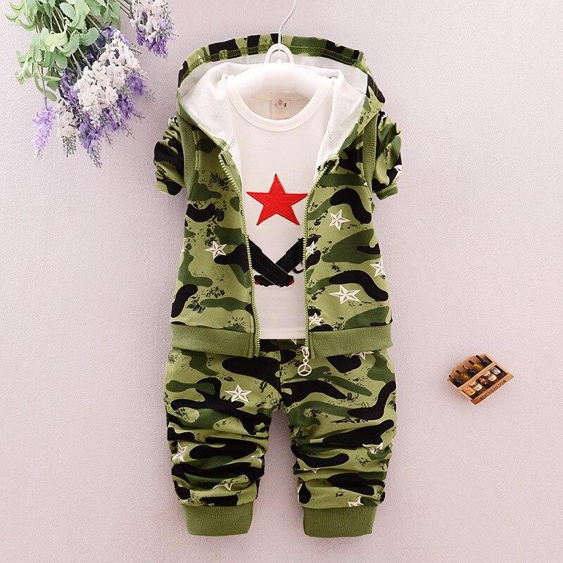 Giyim bahar bölüm adına pamuk kamuflaj bebek boy suit suit üç adet fabrika toptan