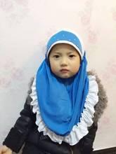 Fashion Islam children's scarf cap high quality Turkish muslim inner hijab for kids flower headwear girl's caps 7 colors