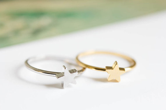 SMJEL 2017 New Everyday Jewelry Punk Tiny Polished Five-Pointed Star Knuckle Rin