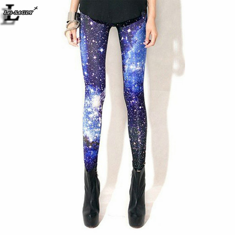 Hot Sale Blue Galaxy Print Leggings Gothic Creative Fitness Women Fashion Shape Slim Popular  Sexy Popular Pants BL-238