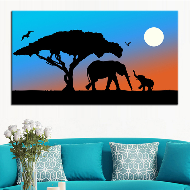 Large Size Printing Oil Painting Mother And Baby Elephant Wall Decor Art Picture For