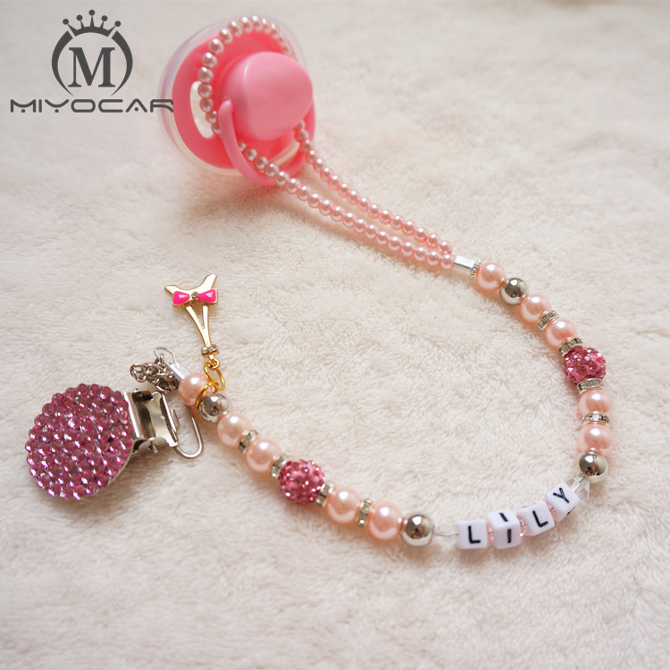 MIYOCAR Personalised Any name Princess Bling pink pacifier clips soother chain holder Dummy clip Teethers clip