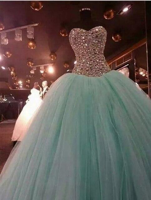 3a668d7bb Menta verde de cristal vestidos Quinceanera vestido de baile dulce 15  vestido cariño tul Formal vestidos