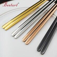 4 palillos de acero inoxidable de color 18/10 Japonés Coreano chopsitcks alta calidad vajilla conjunto