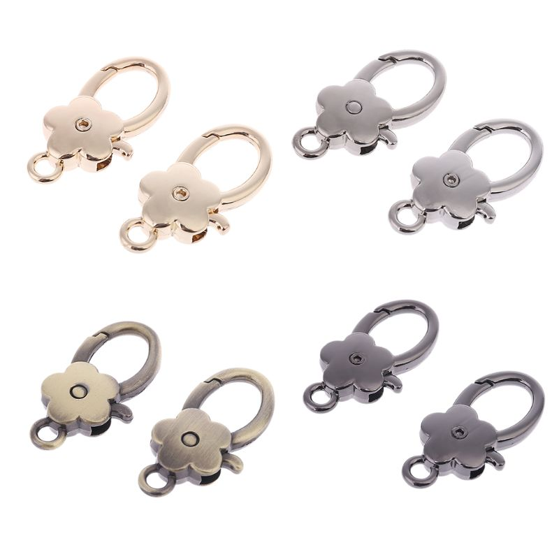 2 Pcs Bag Accessories Handbags Clasps Handle Flower Lobster Metal Clasp Swivel Trigger Clips Snap Hooks Key Rings Keychains
