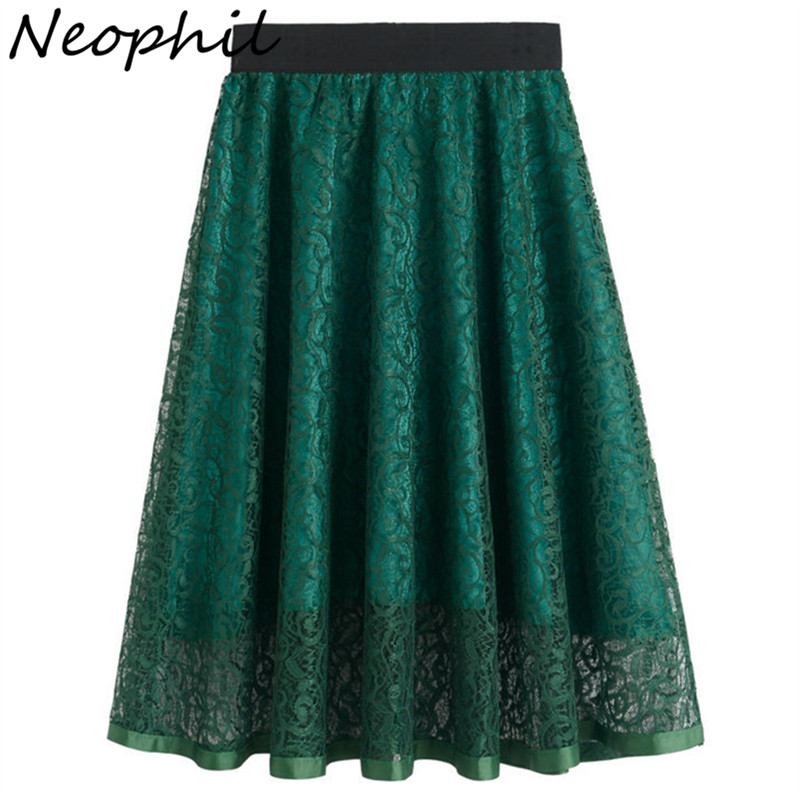 Neophil 2019 Summer Ladies Embroidery Lace Tinggi pinggang Pleated Skirt Midi Wanita Vintage Elegant Black Pleated Tulle Saias S0601