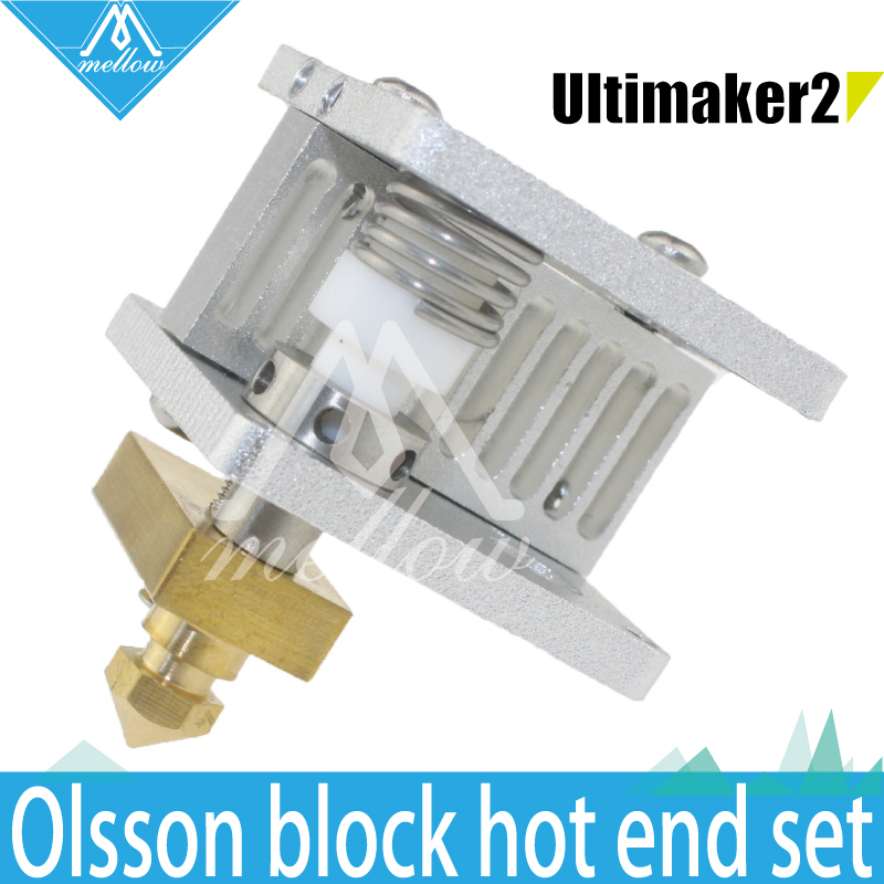 DIY 3D printer Heaterblock Ultimaker 2 + UM2 Extended Olsson block kit interchangeable nozzle+Heat Sink hotend for 1.75/3mm 3d printer upgrade ultimaker 2 um2 extended olsson block nozzle hot end kit for 1 75 3mm filament heater block whole price