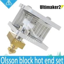 DIY 3D принтер Ultimaker Heaterblock 2 + UM2 Расширенный Олссон блок комплект сменных сопла + Теплоотвод hotend для 1.75/3 мм