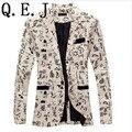 Q.E.J 9 цвет M-XXL мужчины blazer slim fit 2014 костюм мужчины хлопок и лен цветок ткань color matching мужчины досуг куртка костюм