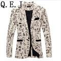Q.E.J 9 color M-XXL de los hombres blazer slim fit 2014 hombres traje flores de tela de algodón y lino color matching ocio chaqueta de traje de los hombres