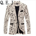 Q.E.J 9 color M-XXL men blazer slim fit 2014 suit men Cotton and linen flower cloth color matching leisure jacket  men suit