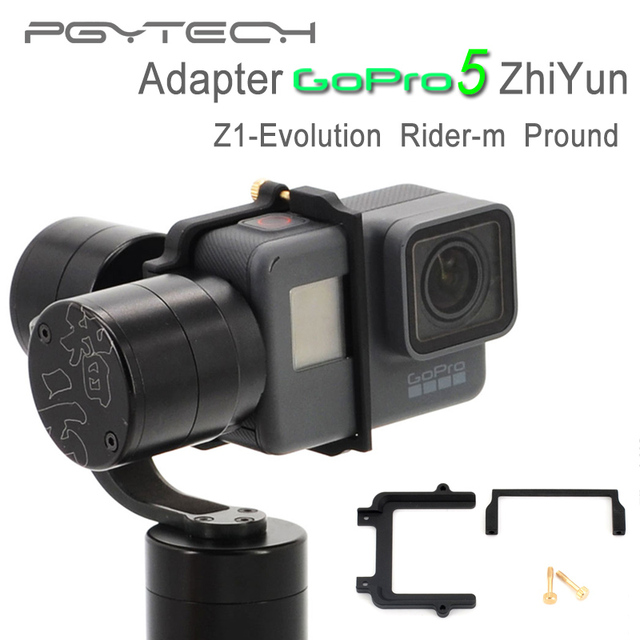 PGY GoPro hero 5 adapter Mount plate clip holder for Zhiyun Z1 Evolution Rider-m gimbal Sports Camera Accessories