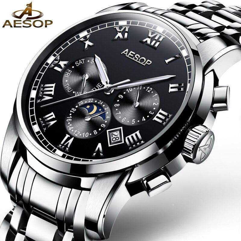 01c1882cdf8 AESOP Relógio Marca de Topo Moda Luminosa relógio de Pulso Mecânico  Automático Dos Homens À Prova D  Água Calendário Relógio Masculino Relogio  masculino 46 ...