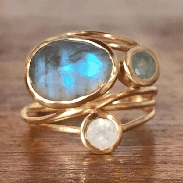 Anillo de oro único 14K oro labradorita y Aqua azul Shell boda joyería US 6 7 8 9 10