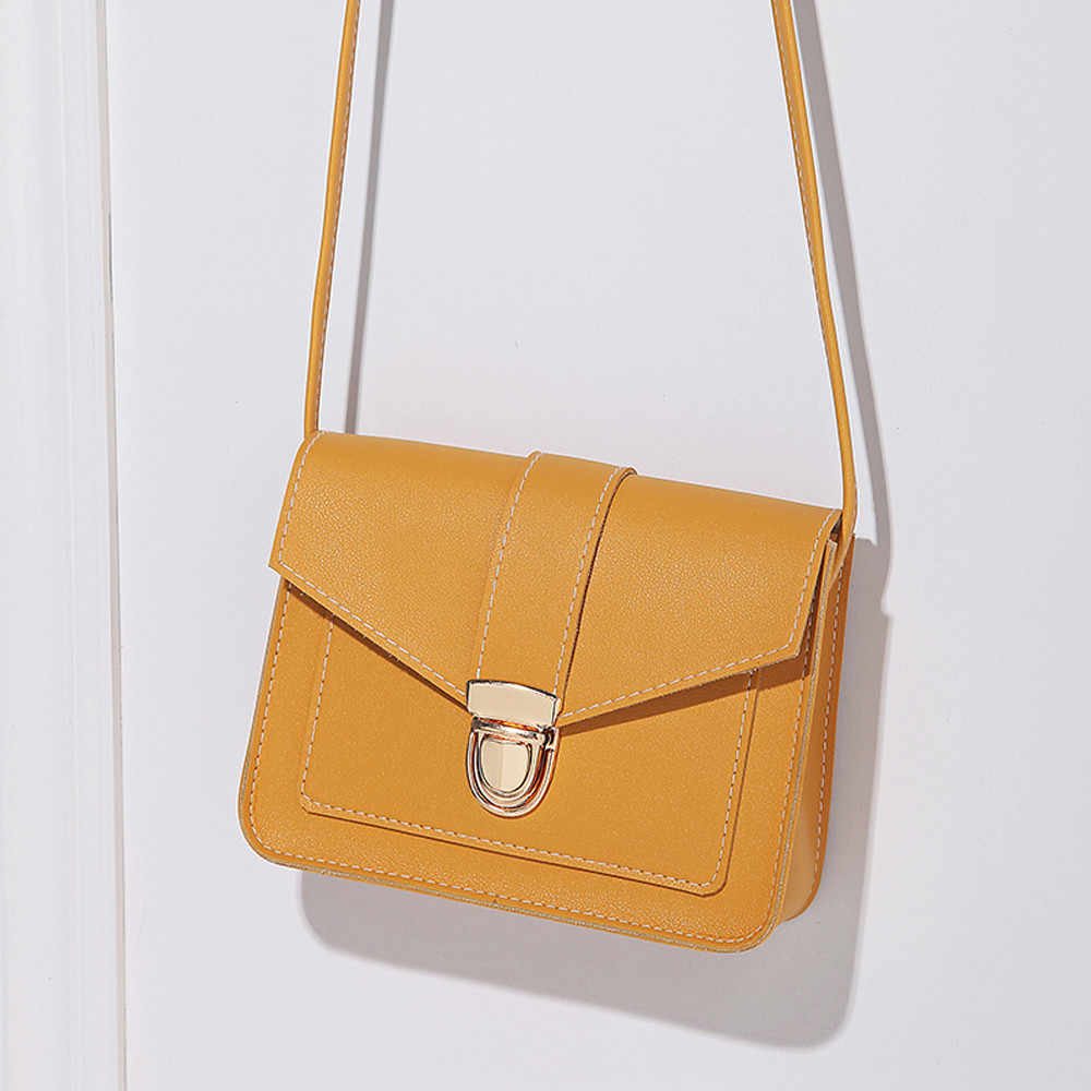Kadın omuz çantaları moda saf renk deri Messenger göğüs çantası kesesi ana femme poşet femme soir e 2019 çantalar ve çanta
