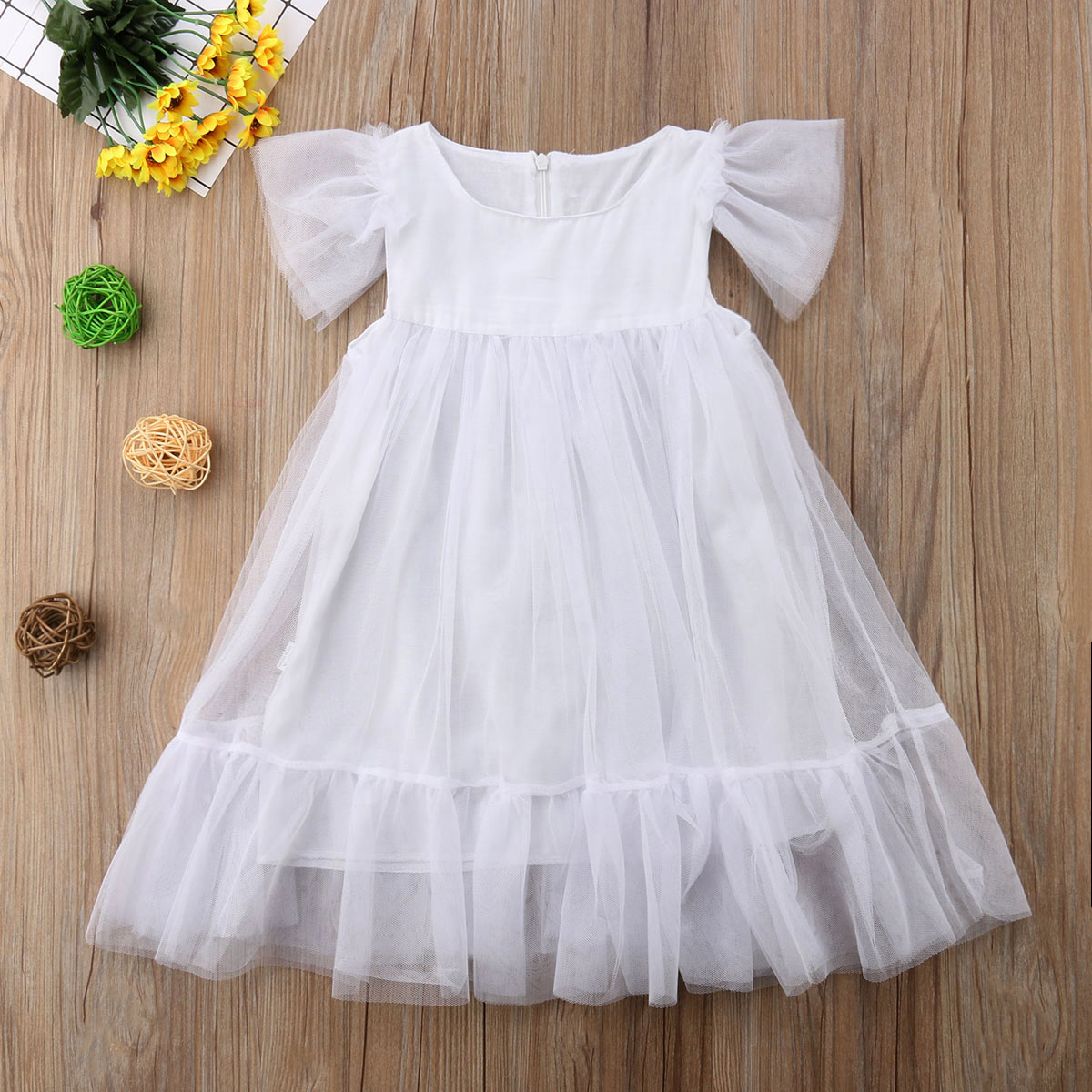 Flower Pageant Sundress Tutu Dress Floral Tulle Princess Baby Girls Dress