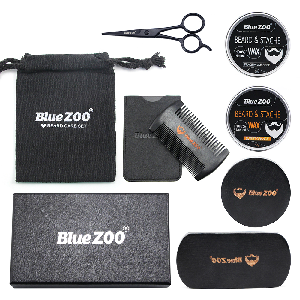 Bluezoo Natural Organic Men s Beard Care Balm Moustache Wax with Scissors Comb Bag Moisturizing Care