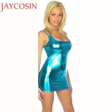 Women Sexy Lingerie Blue PVC Wet Look Erotic Costume Sexy Faux Leather Party Night Dress Shiny Liquid Metallic Club Suits Jan18