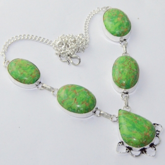 Turquois Necklace Silver Overlay over Copper 48 2 cm N1992 in Pendant Necklaces from Jewelry Accessories