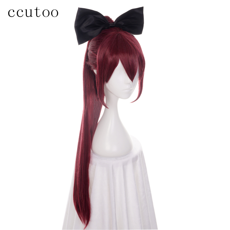 100% Quality Ccutoo 80cm Sakura Kyouko Burgundy Long Straight Synthetic Wig Cosplay Wig With Chip Ponytail+black Bow Elegant In Smell