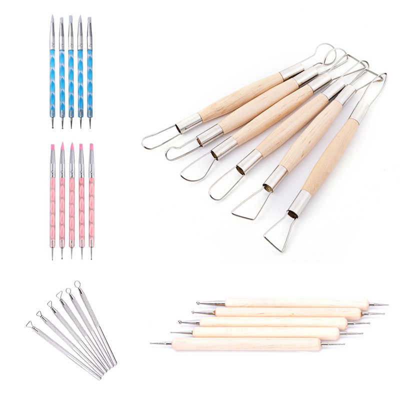 5pcs/6pcs Wood Handle Aluminum Modelling Sculpte Pottery Clay Tool Wax Craft Paint Molding Sludge Ceramic Carve Scraper DIY