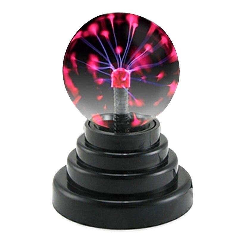 USB Magic Black Base Glass Plasma Ball Sphere Party Lightning Lamp Night Light ac powered plasma ball red light lightning sphere 220v eu plug