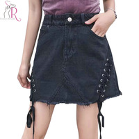 Black Eyelet Lace Up Lattice Side Raw Hem Denim Mini Skirt Women A Line High Waist