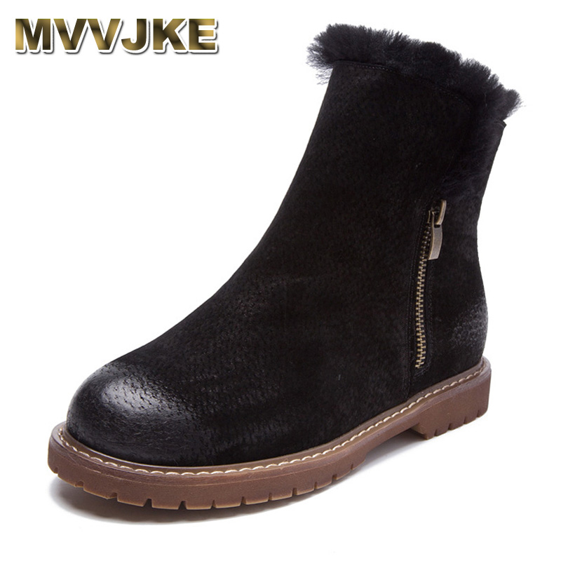 MVVJKE Women Winter Boots New Arrival Genuine Leather Snow Boots Pig Suede Plush Cashmere Warm Ankle Boots Casual Flats Shoes muhuisen winter men genuine leather shoes fashion casual plush warm boots lace up flats male snow boots fur inside comfort