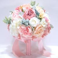 Elegant Pink Hydrangea Champagne Bridal Bouquet Wedding flowers Rustic Chic Wedding bouquet Bride Bridesmaid mariage 717