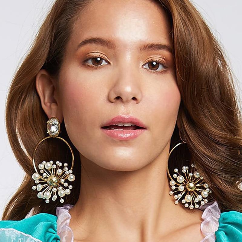 Мода Жемчуг Цветы Серьги Мотаться для женщин бохо Золото серебристого цвета Серьги Падения Серьги