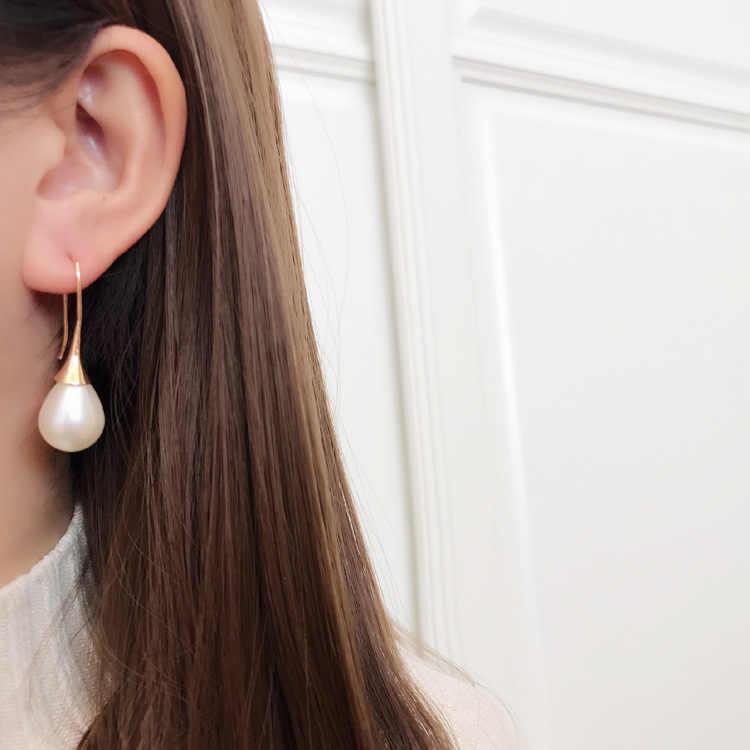 MENGJIQIAO 2019 coreano Simple gran gota de agua simulada perla colgante Pendientes para mujer joyería de moda colgar Pendientes Brinco