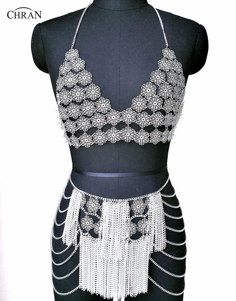 Chran fleur chaîne soutien-gorge Bralete haut Disco jupe fête robe plage couvrir Ibiza harnais collier EDM Festival bijoux CRS222