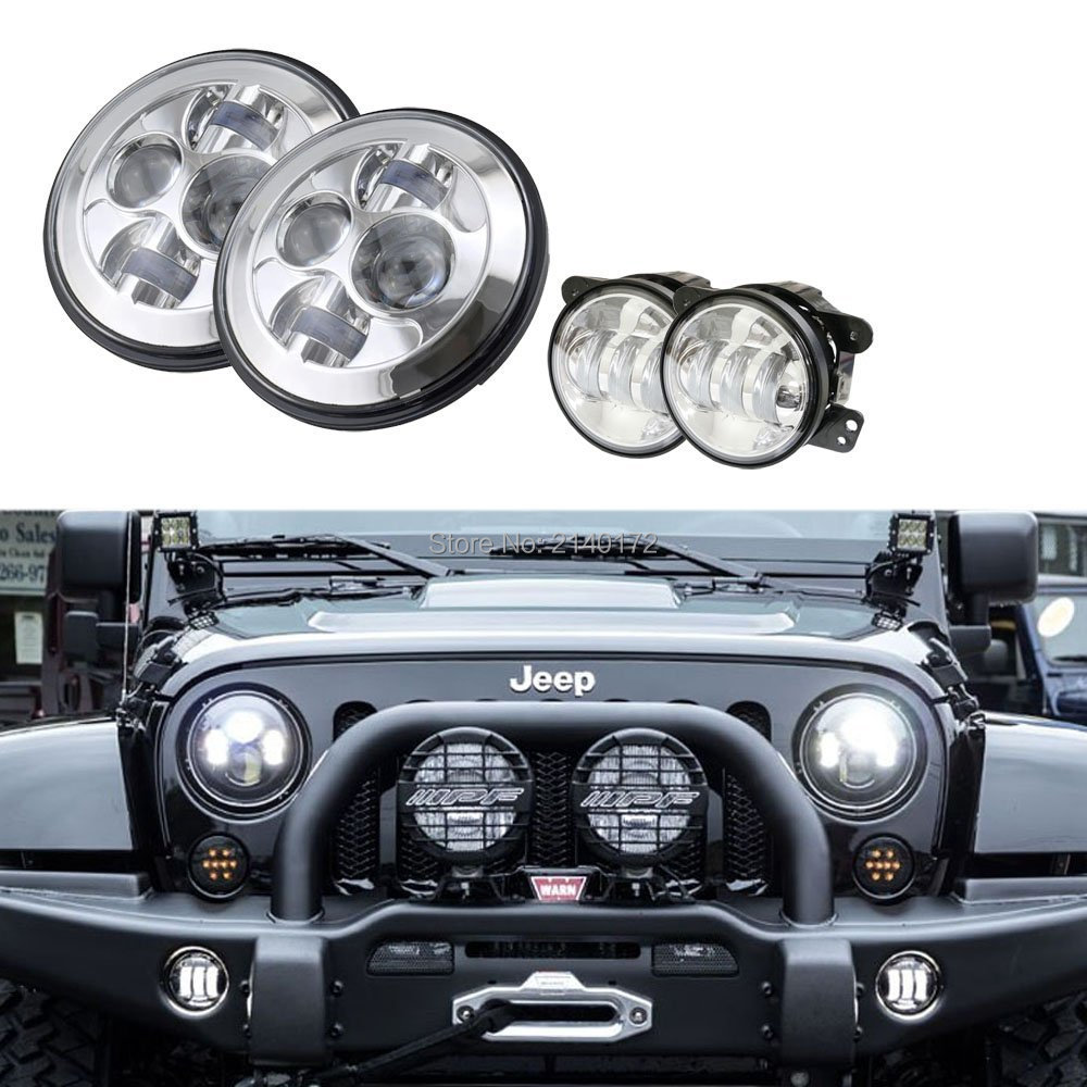 2PCS Silver 4'' inch 30W Passing Fog Driving Light And 2PCS Chrome 7inch High/Low Beam LED Headlight for Jeep JK Wrangler black chrome round 75w high low beam drl led auto headlight driving fog lights for jeep wrangler hummer h1 h2 offroad