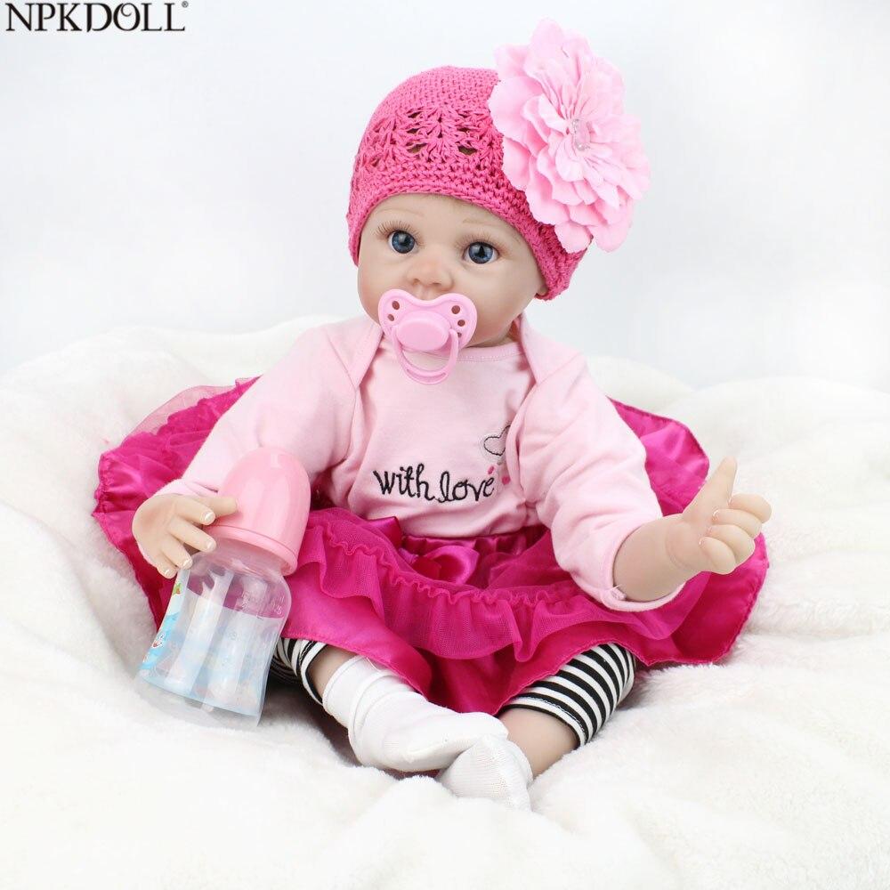 NPKDOLL Reborn Dolls 22 дюймов девочка Reborn Baby Малыши красота изящество волосы реалистичные куклы развивающие игрушки милые игрушки