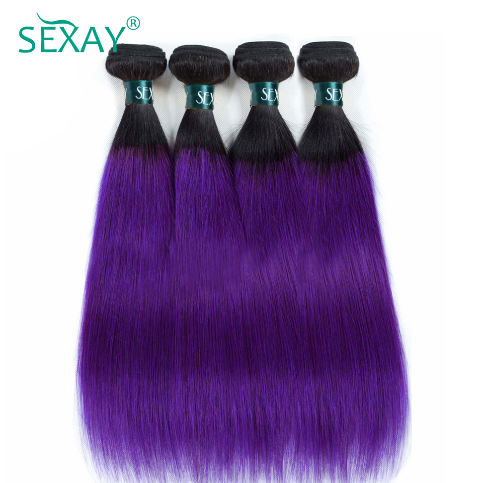 Ombre Brazilian Straight Hair Weave 2 Tone 1B Purple Dark Roots Ombre Human Hair 4 Bundles Pre-colored Non-Remy SEXAY Hair