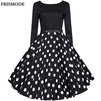 XS 4XL Plus Size Audrey Hepburn Vintage Dresses 2017 New Spring Long Sleeve Polka Dot Women