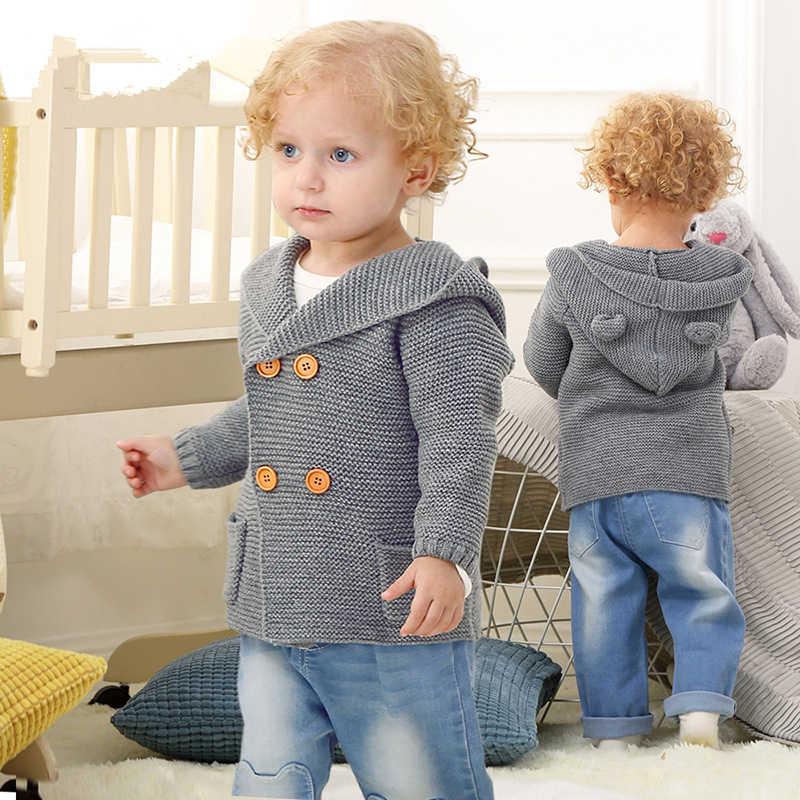 46c3975cb ... New Autumn Winter Sweaters Baby Boys Girls Cartoon Cardigan Ears  Clothing Newborn Knitted Jackets Hooded Long ...