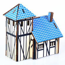 DIY Model toys 3D Wooden Puzzle-Western farmhouse Wooden Kits Educational Puzzle Game Assembling Toys Gift for Kids Adult P7 цены онлайн