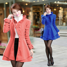 New Vogue Nice Autumn Winter Women Casual Elegant Cute Wool Trench Coats Female Slim Plus Size Long Cashmere Overcoat S1214
